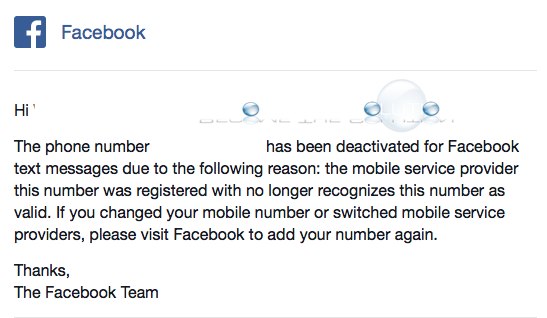 Mobile Phone Number Deactivated for Facebook Text Messages