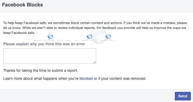 Facebook blocks contact us page