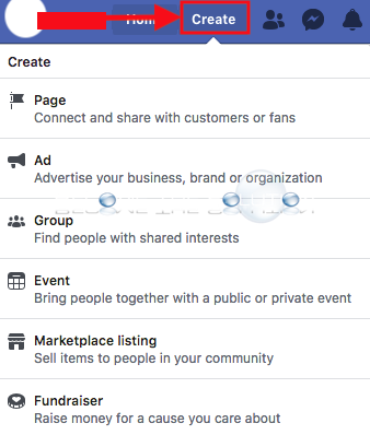 New facebook create button link profile home page