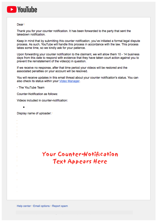 Youtube counter notification email example