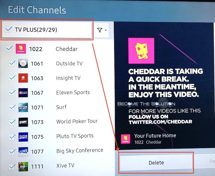 Samsung select all tv plus channels delete