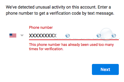 This Phone Number Has Already Been Used Too Many Times for Verification – Google