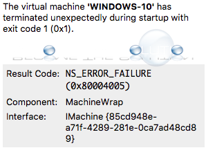 Mac ns error failure virtualbox
