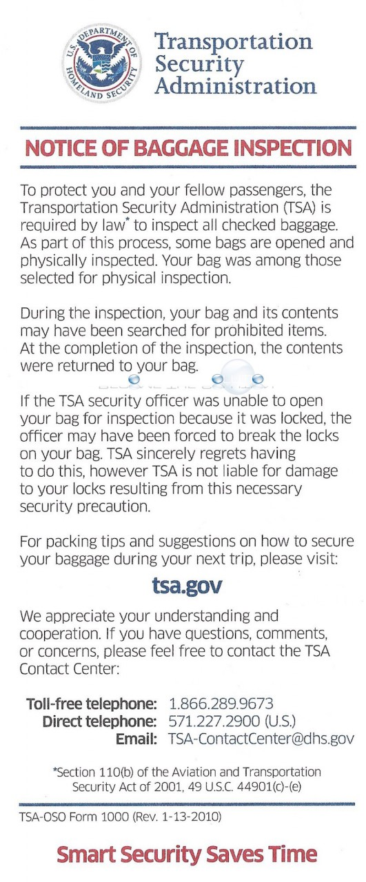 Tsa notice of bag inspection form english transportation security administration