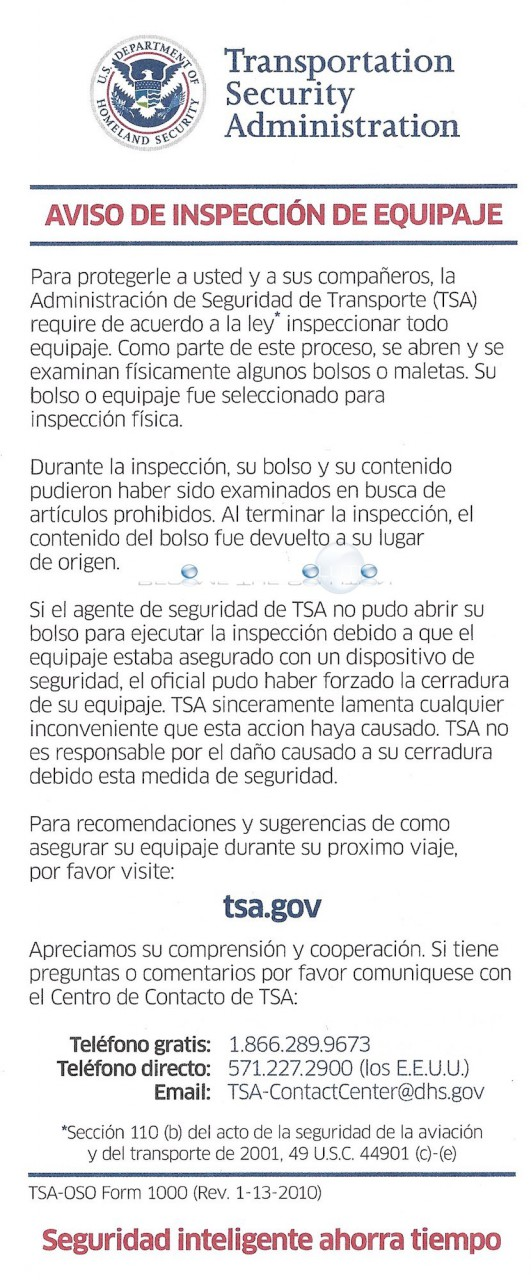 Tsa notice of bag inspection form spanish transportation security administration