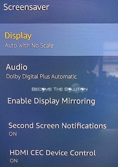 Amazon fire stick display auto no scale