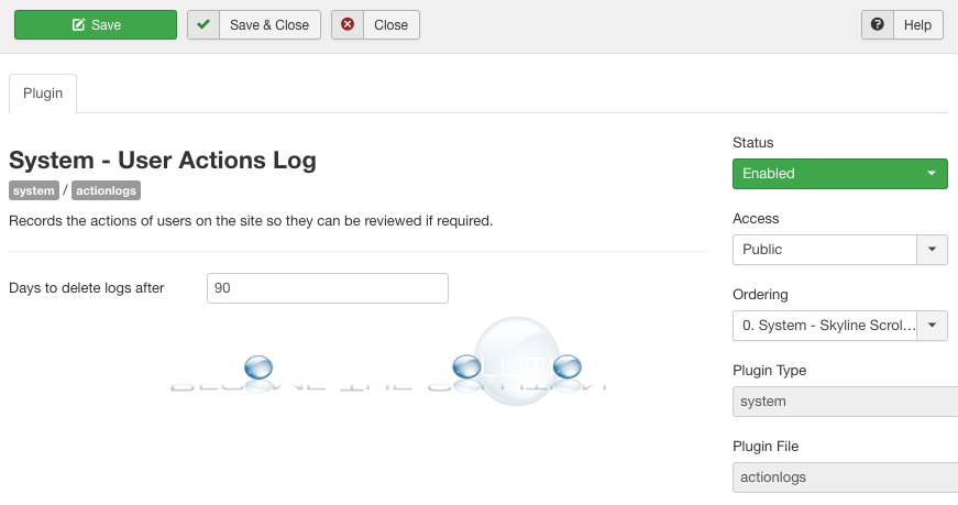 Joomla user actions log plugin enable