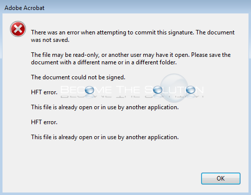 Fix: There was an error when attempting to commit this signature. – Adobe Acrobat