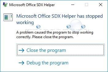 Fix: Microsoft Office SDX Helper Has Stopped Working