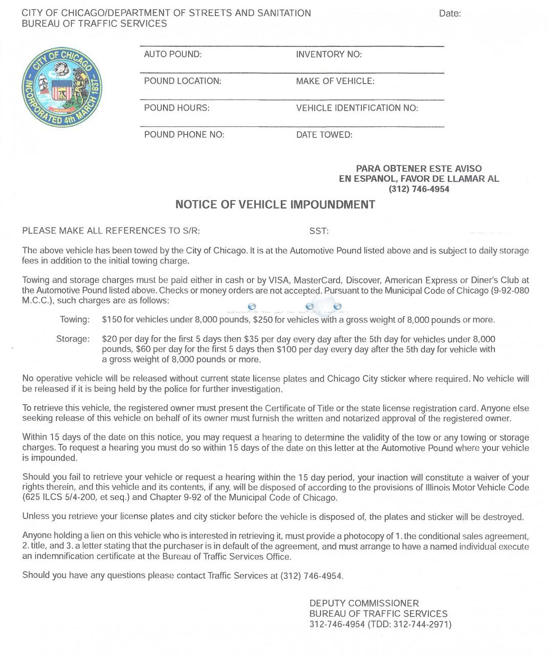 Chicago notice of vehicle impoundment letter mail