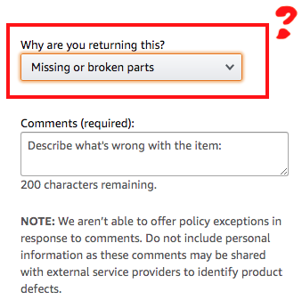 Amazon missing or broken parts claim