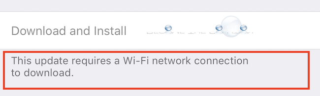 Workaround Bypass: This update requires a Wi-Fi network connection to download – iOS