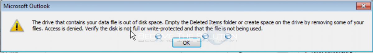 Fix: The drive that contains your data file is out of disk space