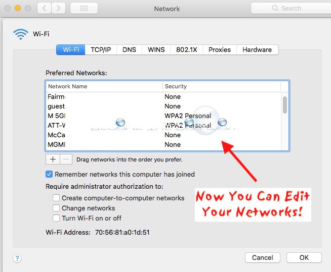 Mac preferred wireless networks not greyed out