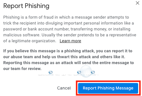 Gmail phishing email warning message confirm