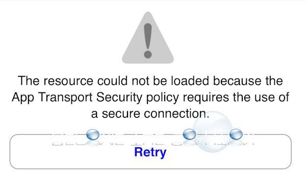 The resource could not be loaded because the App Transport Security Policy requires the use of a secure connection – iOS YouTube