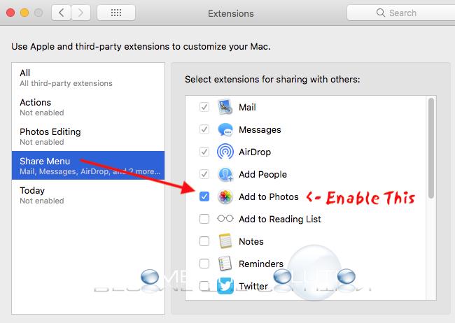 Mac system preferences   extensions share menu photos