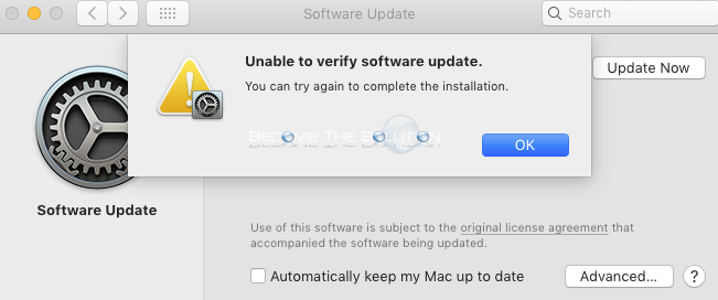 macOS X Software Update: Unable to verify software update. You can try again to complete the installation.