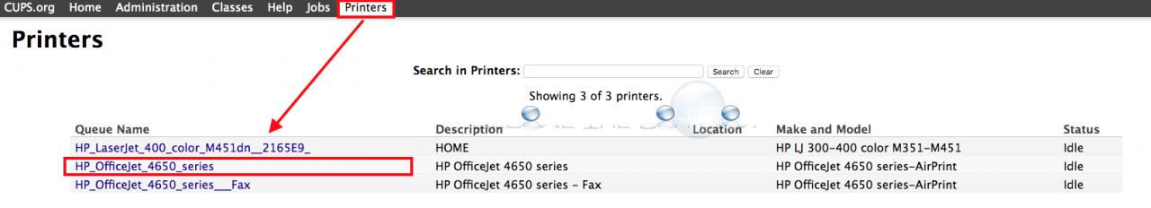 Mac cups printers select