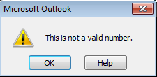 Why: Microsoft Outlook – This is not a valid number