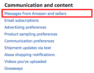 Amazon message center link