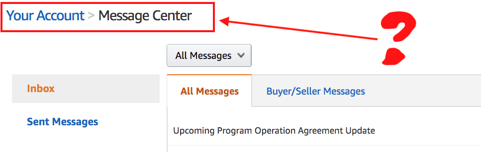 Where is the Amazon Message Center?