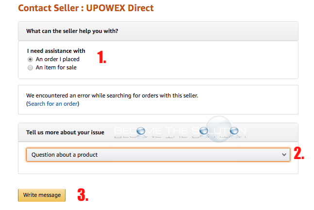 Amazon encountered error while searching for orders with this seller write message