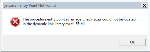 Lync.exe - Entry Point Not Found Error