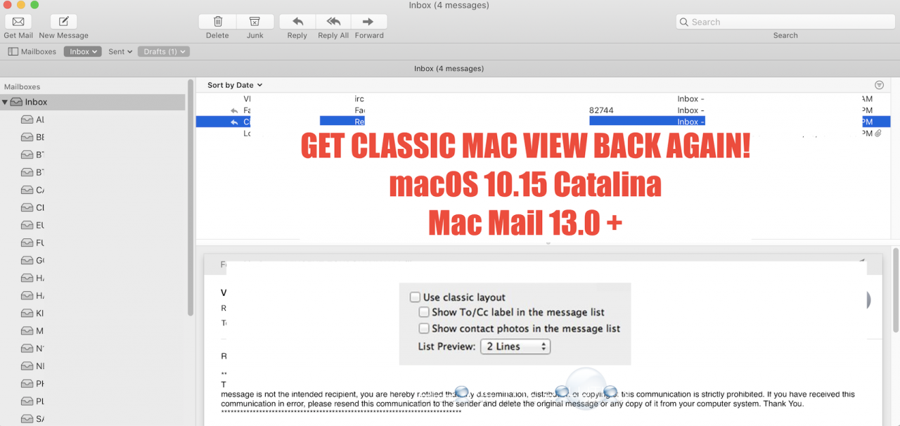 Fix: Restore Classic View in Mac Mail v13.0 + (macOS Catalina 10.15)