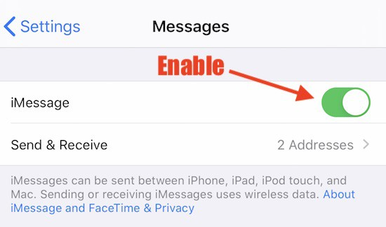 Enable imessage ios iphone