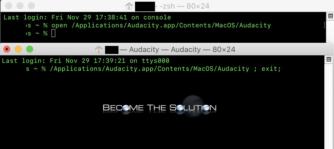 Audacity catalina macos 10.15 fix recording command