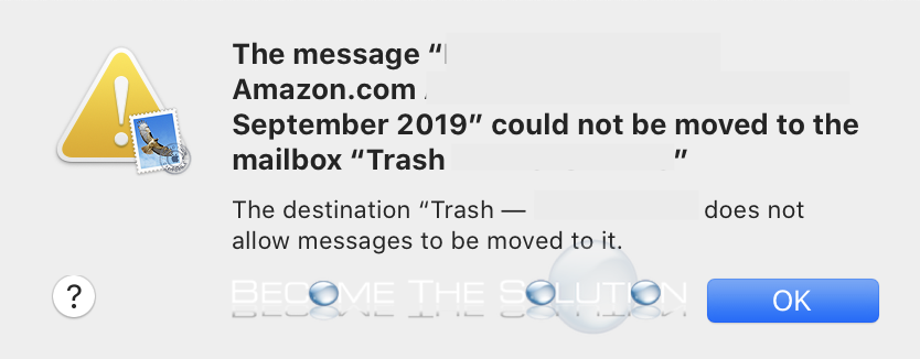 Fix: The destination trash does not allow messages to be moved to it – macOS Mail
