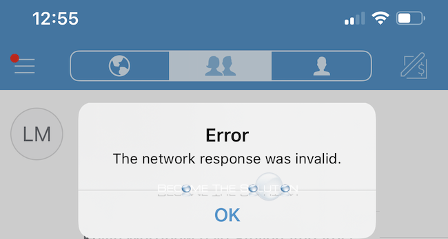 Why: The network response was invalid – Venmo