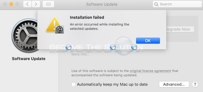 Fix: An error occurred while installing the selected updates – macOS