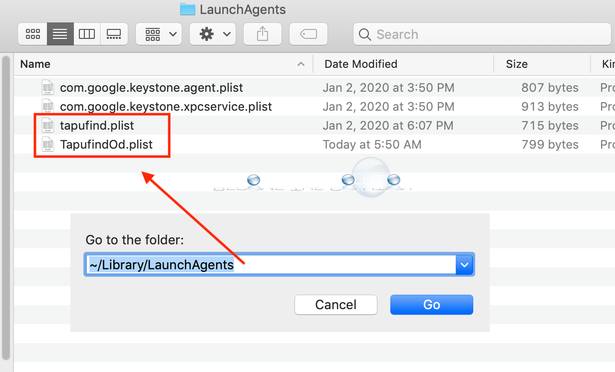 Mac remove tapufind launchagents plist files