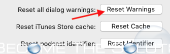 Itunes reset warnings mac