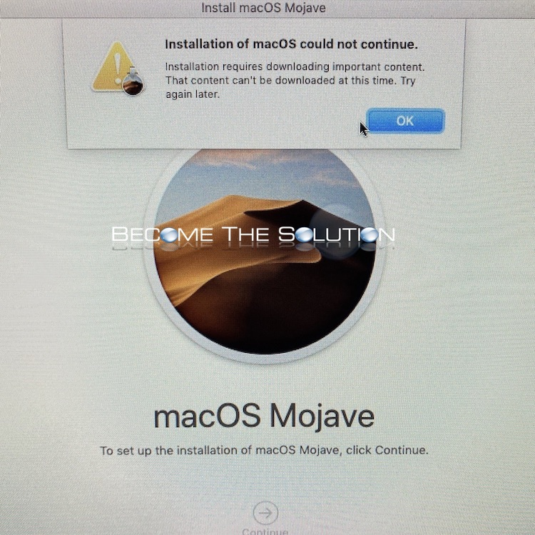 Fix: Installation of macOS could not continue. (This content can't be downloaded at this time.)