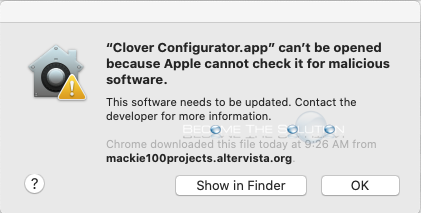 "Workaround: ""Clover Configuration.app' can't be opened because Apple cannot check it for malicious software."