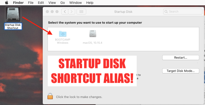 Create Desktop Shortcut to Startup Disk for macOS (Preference Pane)