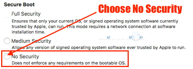 Macos secure boot choose no security
