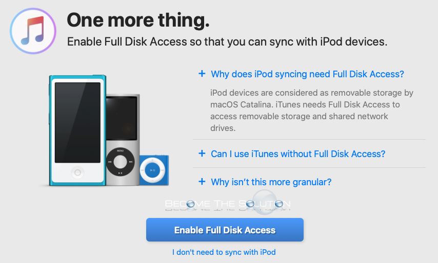 Retroactive mac install itunes full disk access