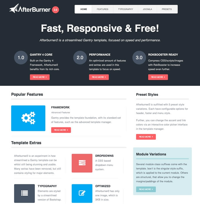 Afterburner Free Joomla Template
