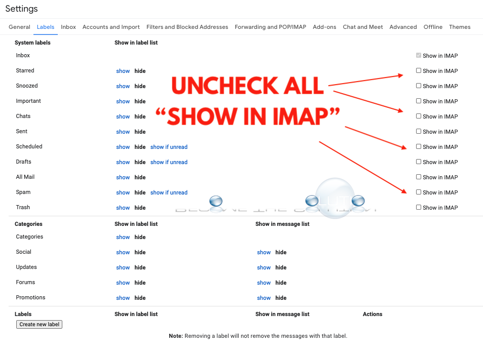 Gmail show in imap labels