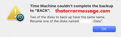 Two of the disks to back up have the same name. (Time Machine)