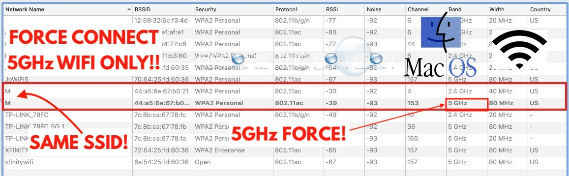 macOS: How to Force Connect to 5GHz or 2.4GHz WIFI Band (Same SSID)