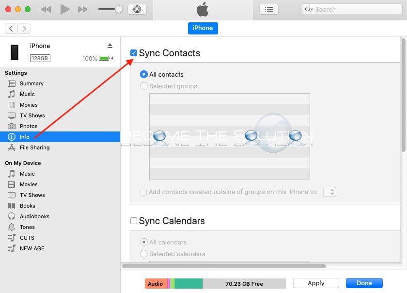 Iphone sync contacts itunes