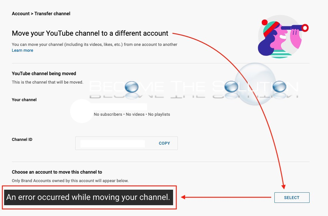 """How to Fix: """"An error occurred while moving your channel"""" (YouTube Brand Account)"""