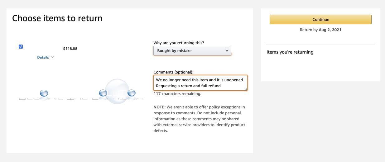 Amazon bought by mistake return refund