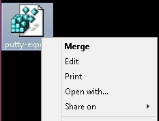 Putty Merge Regedit