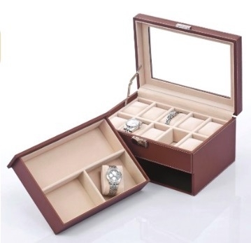 Review of Songmics Brown Leather Watch Box with Jewelry Drawers